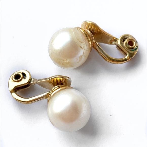 Faux Pearl Monet Clip Earrings